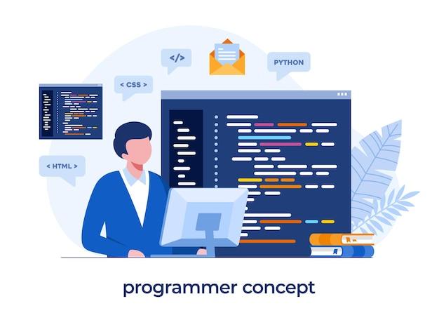 Webontwikkeling. programmeertalen. css, html, it, ui. programmeur stripfiguur ontwikkelen website, codering. platte illustratiebanner
