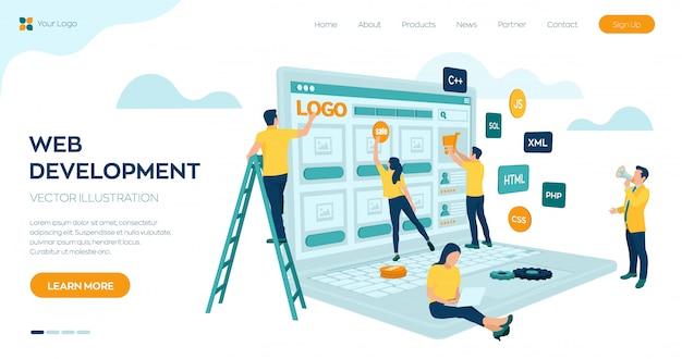 Webontwikkeling. projectteam van ingenieurs voor website creëren. webpagina bouwen.