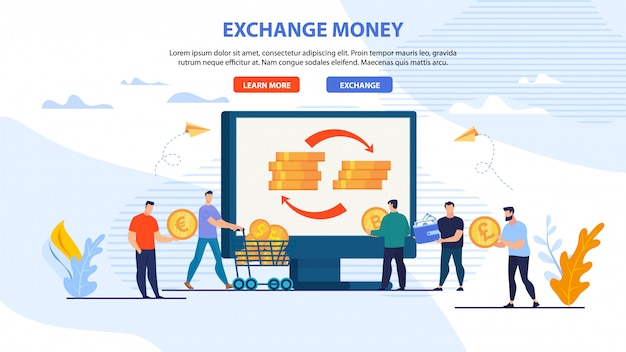 Webpagina banner voor online exchange money service