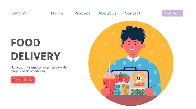 Webpagina met bezorgservice van afhaalmaaltijden. mobiele applicatie voor online bestelling van producten. vector illustratie