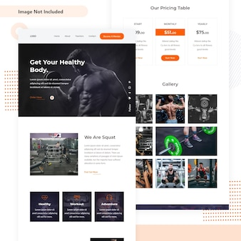 Webpagina met fitness mini-landing