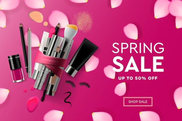 Webpagina ontwerpsjabloon voor spring sale-cosmetica