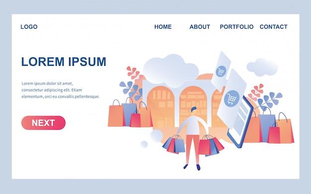 Webpagina ontwerpsjabloon voor trendy winkel