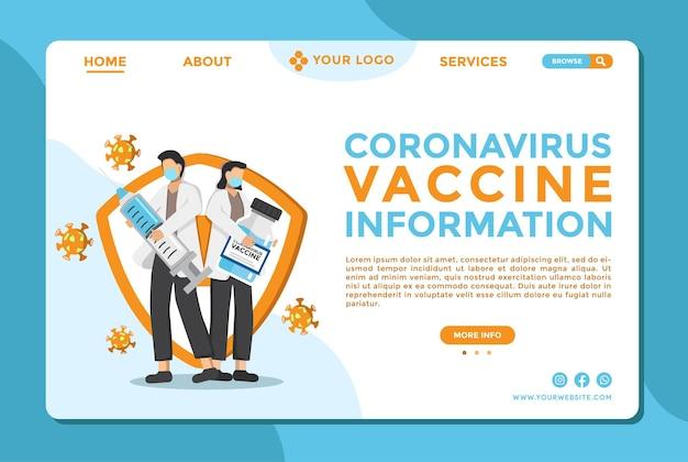 Webpagina-ontwerpsjabloon voor vaccin covid 19 virusbehandeling medische websitesjabloon