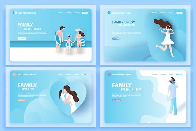 Webpagina's sjablonen voor gezondheidskliniek voor gezinnen