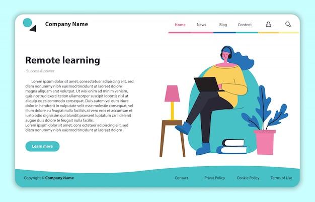 Webpagina site concept illustratie in plat en schoon ontwerp. bestemmingspagina, applicatie met één pagina voor online leren en onderwijs op afstand.