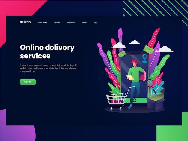 Webpagina sjablonen voor online winkelen. een man is aan het winkelen