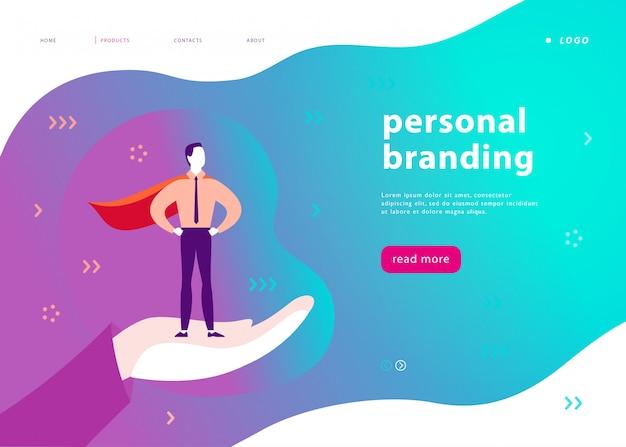 Webpagina sjabloon voor personal branding, zakelijke communicatie, consulting, planning. ontwerp van bestemmingspagina's. zakenman die zich als super held op menselijke hand bevindt.