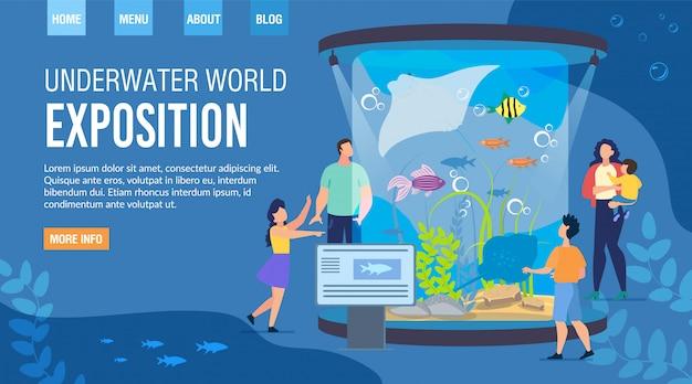 Webpagina uitnodigend bezoek underwater world exposition
