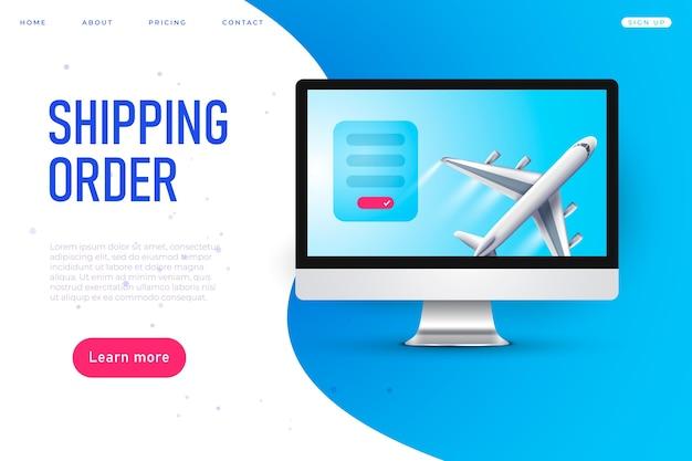 Webpagina voor verzending van bestelling, vliegtuig, realistisch model naar desktop
