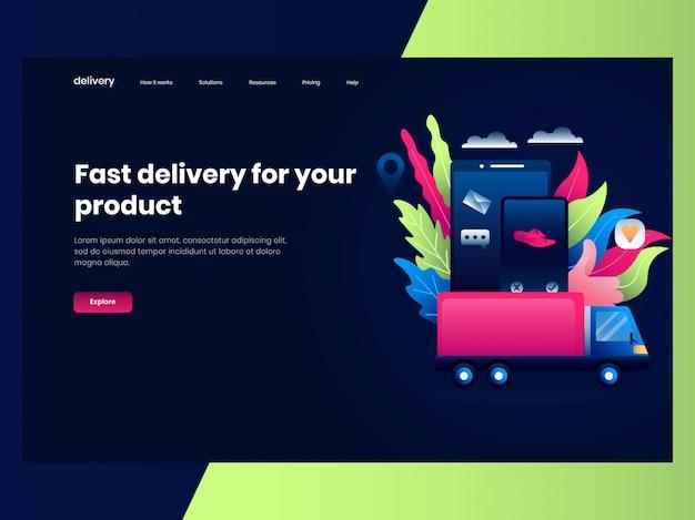 Webpaginasjablonen voor online winkelen, een vrachtwagen stuurde goederen die snel werden besteld