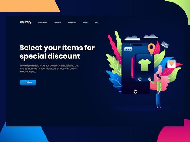 Webpaginasjablonen voor online winkelen, iemand heeft kleding gekocht voor de applicatie