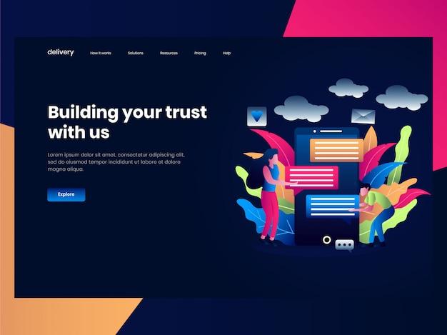 Webpaginasjablonen voor online winkelen, mensen bouwen communicatie om hun bedrijf te verbeteren