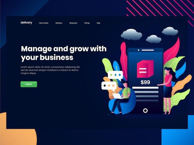 Webpaginasjablonen voor online winkelen, mensen bouwen goede communicatie met klanten om hun bedrijf te verbeteren