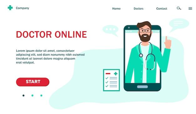 Webpaginasjabloon met arts op smartphonescherm voor online geneeskunde en gezondheidszorgwebsite.