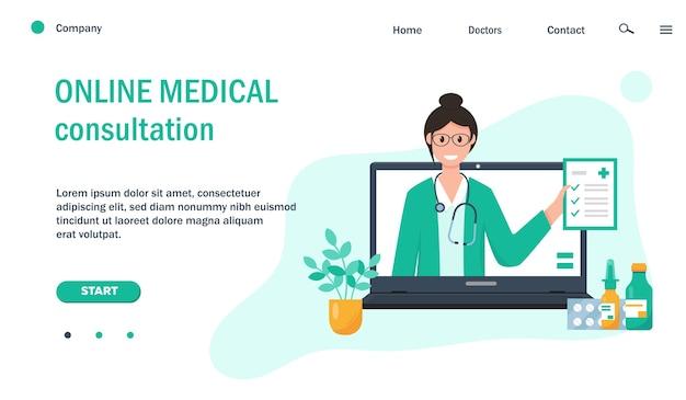 Webpaginasjabloon met vrouwelijke arts op computerscherm en medicatie voor website.