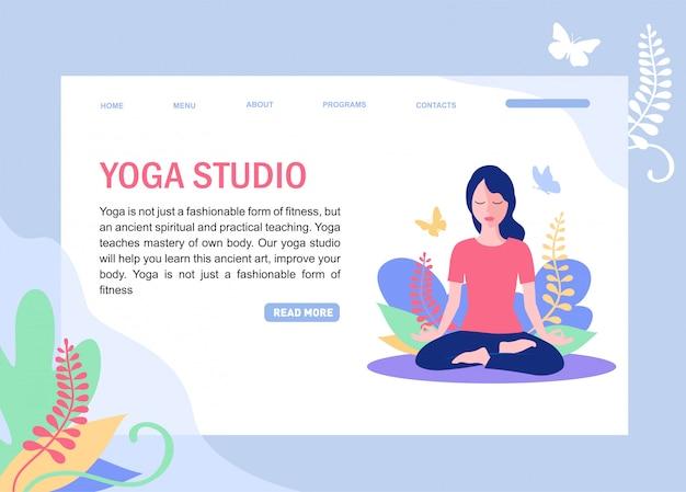 Webpaginasjabloon van yogaschool, studio.