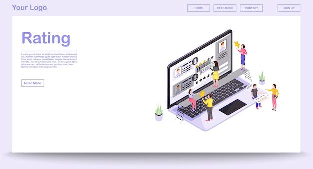 Webpaginasjabloon voor beoordeling en feedback met isometrische illustratie. website-interface ontwerp. klanttevredenheid 3d-concept. gebruikersrecensies en mening. website ranking geïsoleerde clipart