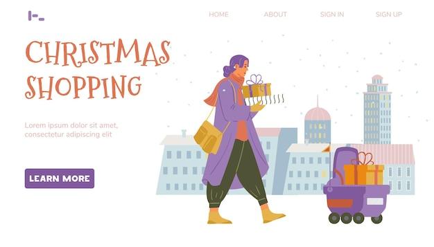 Webpaginasjabloon voor kerstinkopen vrouw loopt met geschenkdozen bezorgrobot met cadeau