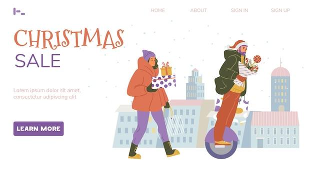 Webpaginasjabloon voor kerstverkoop vrouw loopt met geschenkdozen man rijdt op monowiel met boeket