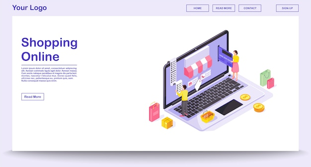 Webpaginasjabloon voor online winkelen met isometrische illustratie. website-interface, mobiele app. e-betaling. kledingwinkel website concept. digitale aankoop infographic
