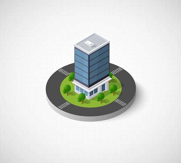 Webpictogram isometrische 3d-stadsinfrastructuur, stedelijk