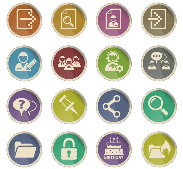Webpictogrammen van de foruminterface in de vorm van ronde papieren etiketten