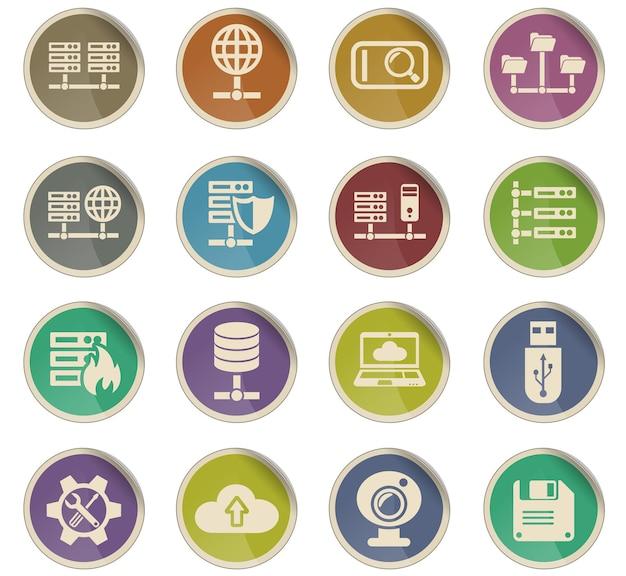 Webpictogrammen van hostingproviders in de vorm van ronde papieren etiketten
