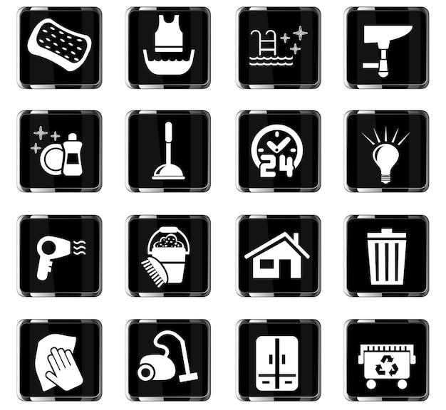 Webpictogrammen van schoonmaakbedrijven voor ontwerp van gebruikersinterface
