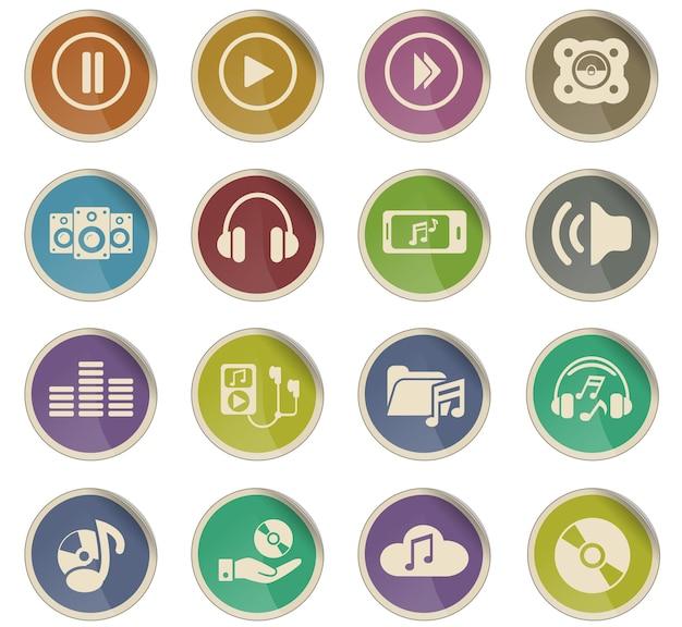 Webpictogrammen voor digitale muziek in de vorm van ronde papieren labels