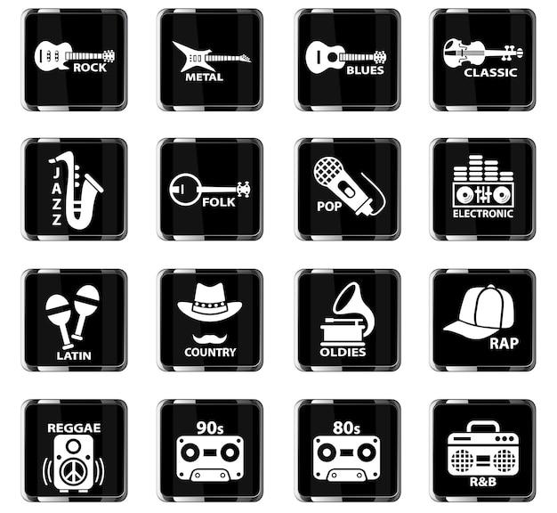 Webpictogrammen voor muziekgenre voor ontwerp van gebruikersinterface