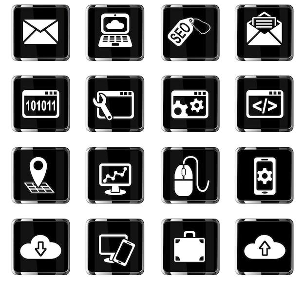 Webpictogrammen voor seo en ontwikkeling voor ontwerp van gebruikersinterface