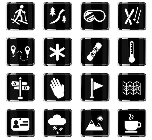 Webpictogrammen voor skiën voor gebruikersinterface