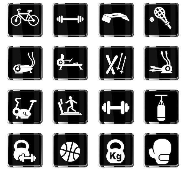 Webpictogrammen voor sportuitrusting voor ontwerp van de gebruikersinterface