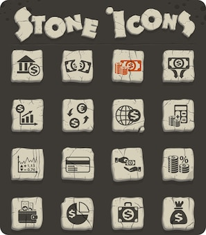 Webpictogrammen voor zakelijke financiën op stenen blokken in de stijl van het stenen tijdperk