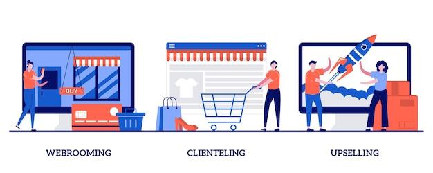 Webrooming, clienting, upselling concept met kleine mensen. winkelgedrag ingesteld. onderzoek naar digitale goederen, klantloyaliteit, klantmotivatie, product online.