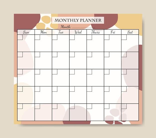 Webroze gele pastel abstracte vorm maandelijkse planner sjabloon afdrukbare
