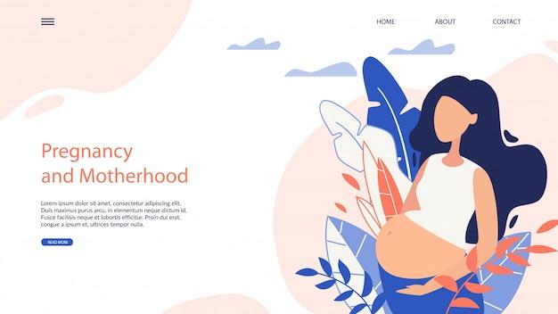 Webside banner zwangerschap en moederschap cartoon