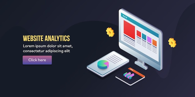 Website analytics isometrische concept