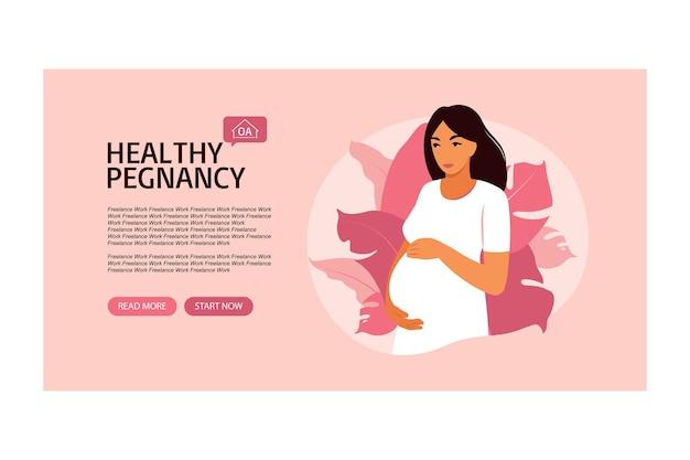 Website banner zwangerschap en moederschap. illustratie in platte cartoon stijl.