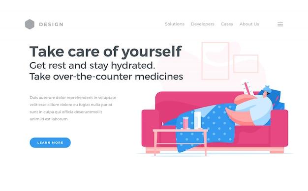 Website-banneraanbieding om voor uzelf te zorgen tijdens een pandemie