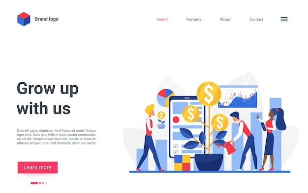 Website-bestemmingspagina-ontwerp met cartoon platte kleine zakenmensen