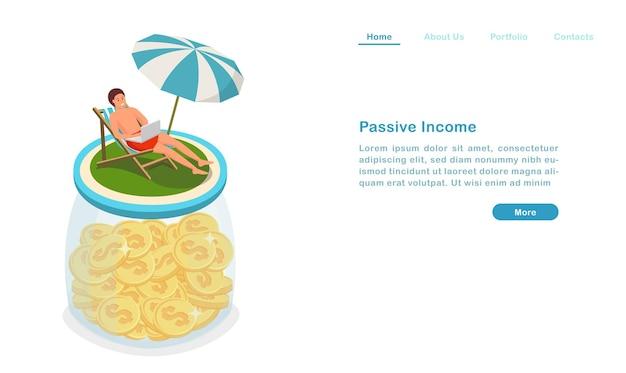 Website bestemmingspagina sjabloon cartoon passief inkomen concept geld verdienen en tegelijkertijd genieten van roeping