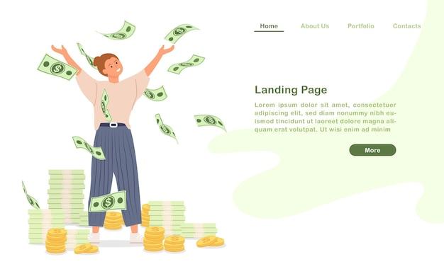 Website bestemmingspagina sjabloon cartoon worden rijke, rijke mensen blij met ontelbaar geld
