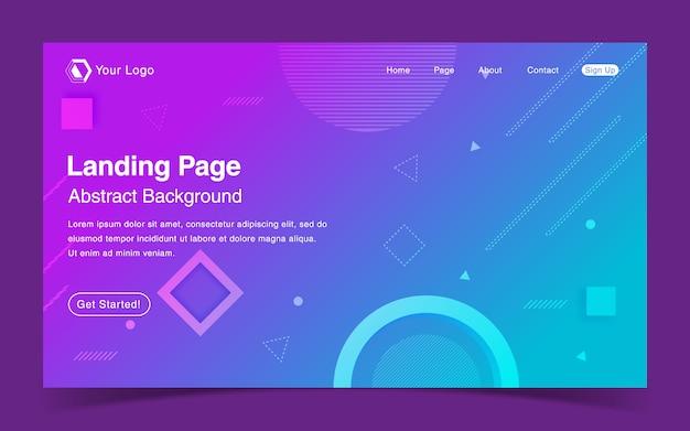 Website bestemmingspagina sjabloon met geometrische blauwe achtergrond