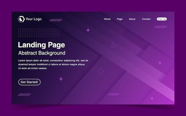 Website bestemmingspagina sjabloon met geometrische paarse achtergrond