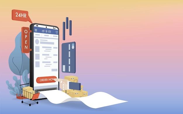 Website-bestemmingspagina van de gebruikersinterfacepagina / tempage van de online betalingssite. betaal de rekening via creditcard op mobiel via internet. online e-commercebedrijf via mobiele telefoon via internet.