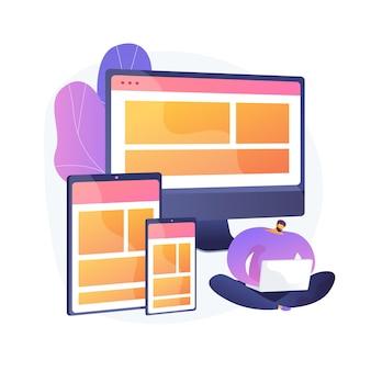 Website bouwen. webafbeelding, interfaceontwerp, responsieve website. software engineering en ontwikkeling. mannelijke programmeer stripfiguur. vector geïsoleerde concept metafoor illustratie