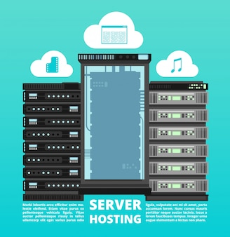 Website cloud hosting, digitale data-opslag en computer server ondersteuning