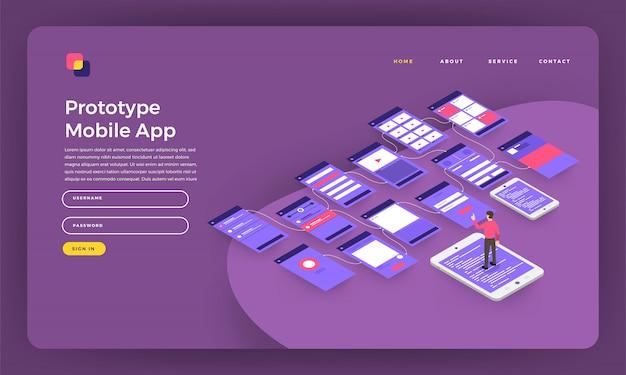 Website concept bestemmingspagina prototype mobiele applicatie draadframe scherm op smartphone. illustratie.